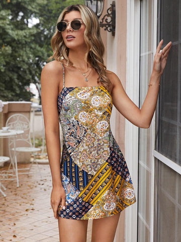 Boho Spaghetti Strap Sleeveless Patchwork Tie Back Cut Out Cami Dress