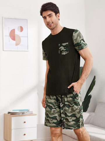 Round Neck Camo Print Pocket Patched Tee and Shorts Pyjama Sleepwear Set