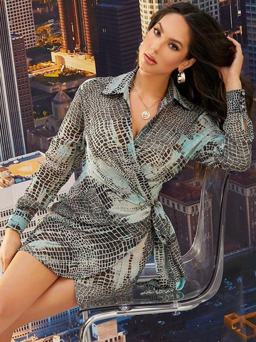 Snakeskin Print Wrap Detail Knot Side High Waist Shirt Dress