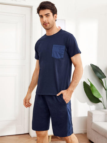 Navy Blue Round Neck Pocket Pyjama Sleepwear Set