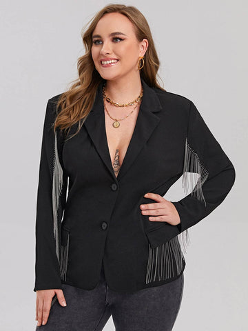 Plus Lapel Collar Button Front Chain Fringe Detail Blazer