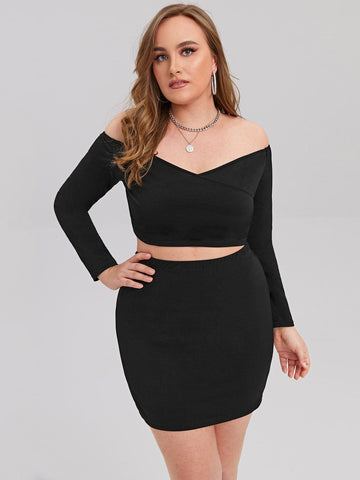 Plus Off Shoulder Slim Fit Crop Top and Skirt Set