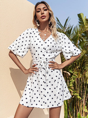 White Polka Dot V-Neck Button Front Bishop Sleeve Belted Dress
