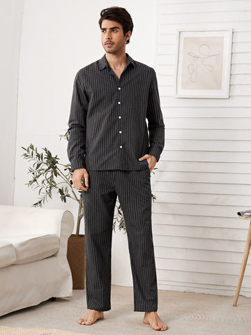 Dark Grey Stripe Shirt and Pocket Side Trousers Pyjama Sleepwear Set