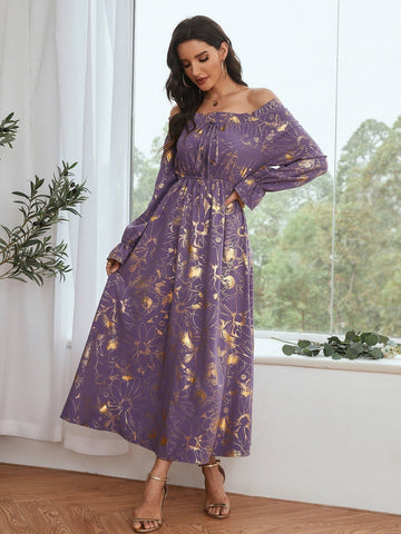 Off-shoulder Floral Jacquard Ruffle Trim High Waist Dress