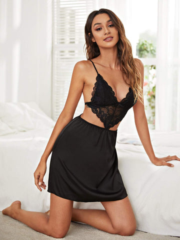 Black Spaghetti Strap Sleeveless Contrast Lace Cut Out Backless Cami Night Sleepwear Dress