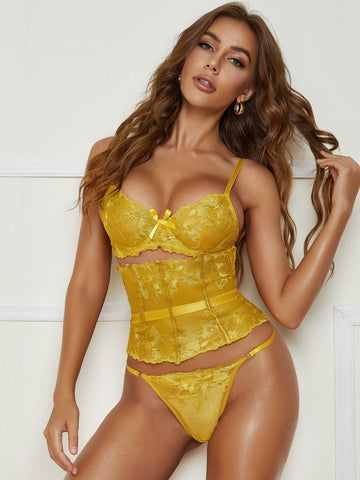 Yellow Floral Lace V-Strings Lingerie Set