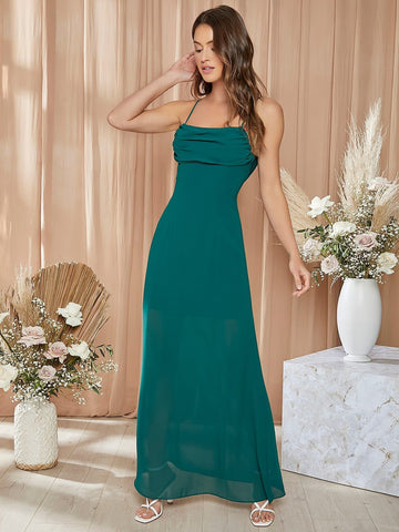 Dark Green Ruched Detail Spaghetti Strap Sleeveless Solid Halter Dress