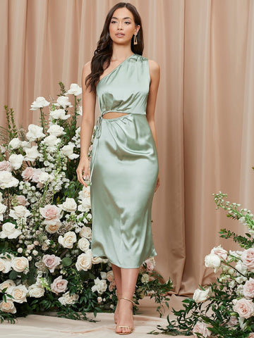 Mint Green Solid One Shoulder Sleeveless Cut Out Satin Dress