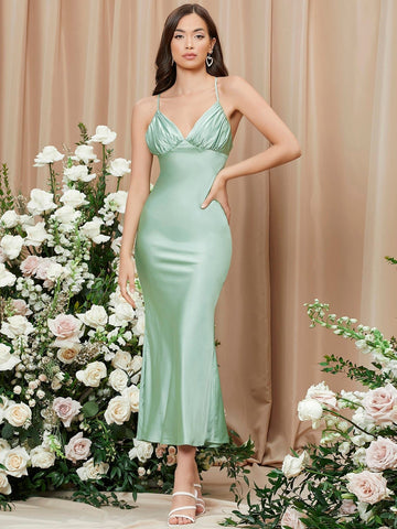 Mint Green Spaghetti Strap Sleeveless Ruched Bust Crisscross Back Cami Dress