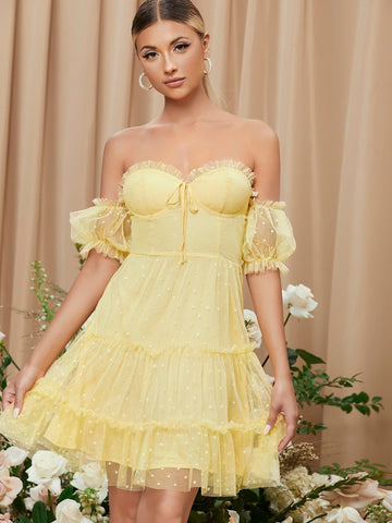 Yellow Off Shoulder Knot Front Frill Trim Swiss Dot Mesh Short Dress