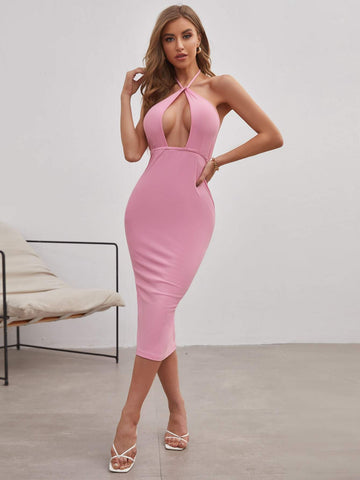 Pastel Pink Cut Out Sleeveless Backless Slim Fit Dress