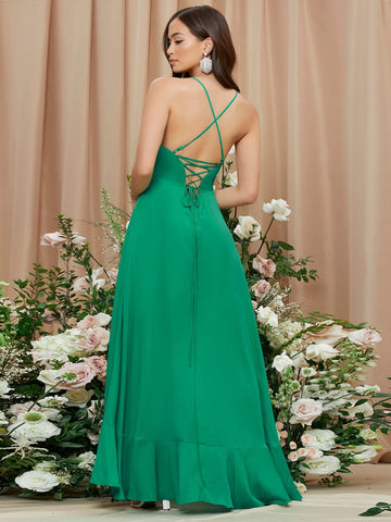 Green Spaghetti Strap Sleeveless Lace Up Backless Wrap Hem Cami Dress