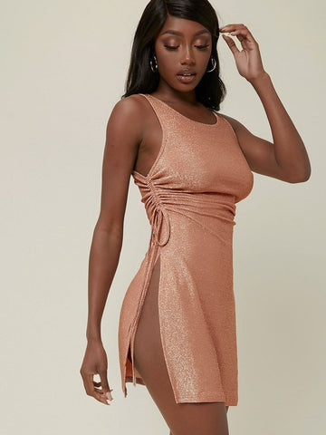 Rust Brown Sleeveless Glitter Knit Ruched Drawstring High-Slit Mini Dress