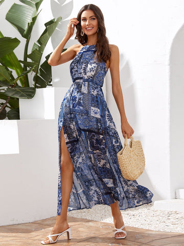 Tie Back Sleeveless Patchwork Split Hem Halter Dress