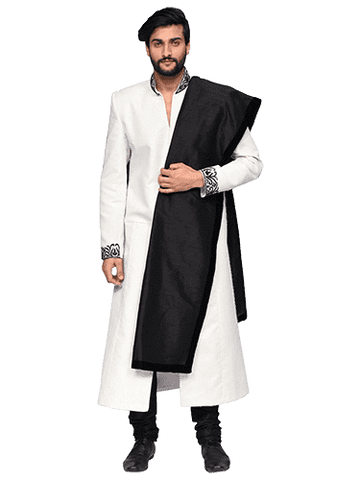 White And Black Long Sherwani By Arshi Jamal