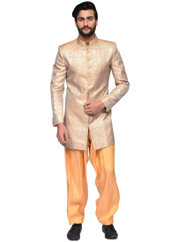 Mustard And Silver Designer Suit By Arun Dhall