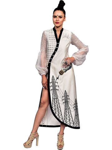 Asymmetric Cut Embroidered Indo Western Dress by Amita Gupta