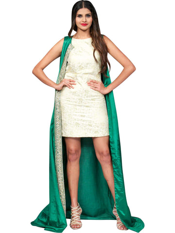 Brocade Dress With Long Satin Jacket By Anvita Thakkar