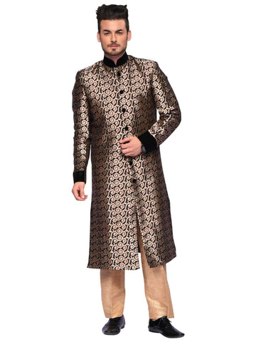 Golden Black Sherwani By Arshi Jamal