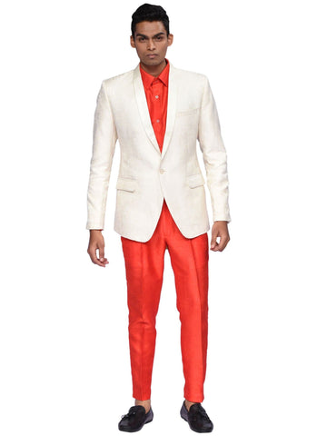 Off White And Red Designer Suit By Arun Dhall