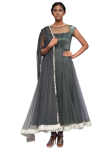 Grey And Silver Anarkali By Archana Nallam