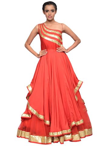 Red And Golden Gown By Archana Nallam