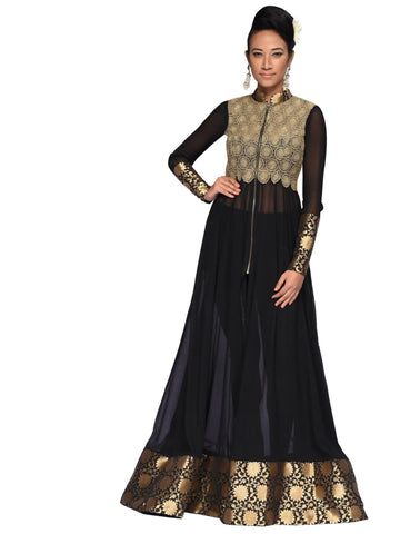 Black Golden Long Dress By Arun Dhall