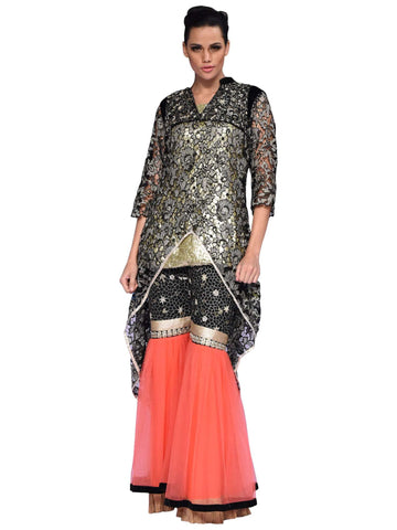 Golden Black And Pink Sharara Coat By Arshi Jamal