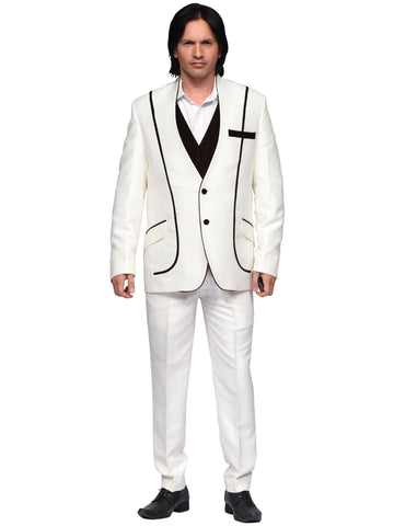 Off White And Brown Designer Suit By Arun Dhall