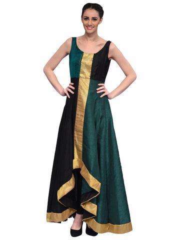 Black And Green Long Gown By Archana Nallam
