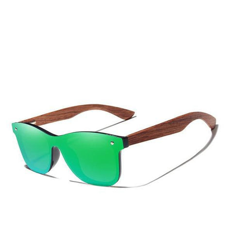 Bubinga Wooden Polarized Retro Rimless Green Mirror Lens Handmade Driving Sunglasses