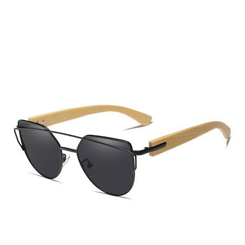 Bamboo Cat Eye Polarized Metal Frame Wood Luxury Sunglasses