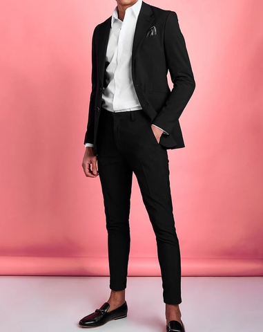 Black Single Breasted Slim Fit Blazer Suit