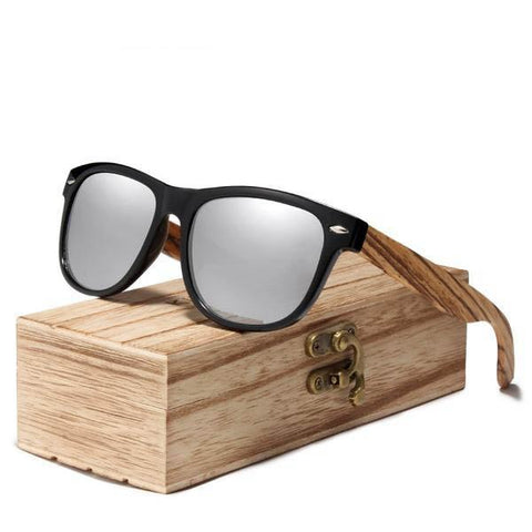 Zebra Natural Wood Polarized Mirror Lens Retro Wooden Frame Sunglasses
