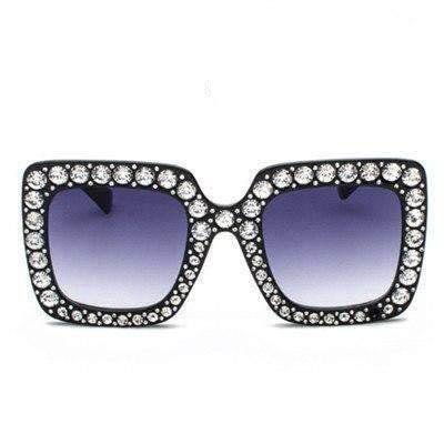 Square Shining Diamond Big Frame Designer Luxury UV400 Sunglasses