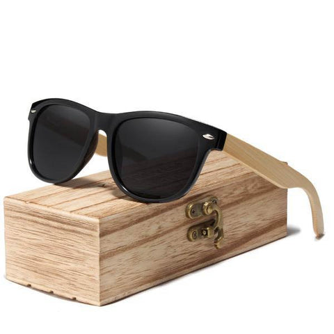 Natural Bamboo Spring Legs Handmade Polarized Sunglasses