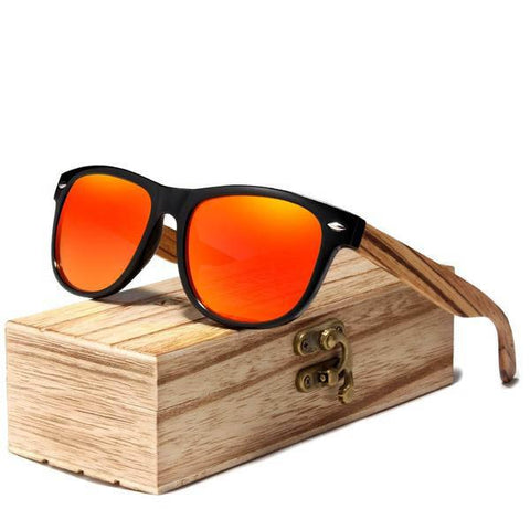 Zebra Wood Bamboo Vintage Polarized Red Mirror Sunglasses