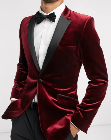 Burgundy Single Breasted Contrast Lapel Tuxedo Blazer