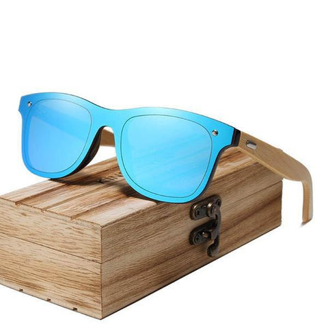 Handmade Wooden Bamboo Frame UV protection Mirror Lens Sunglasses