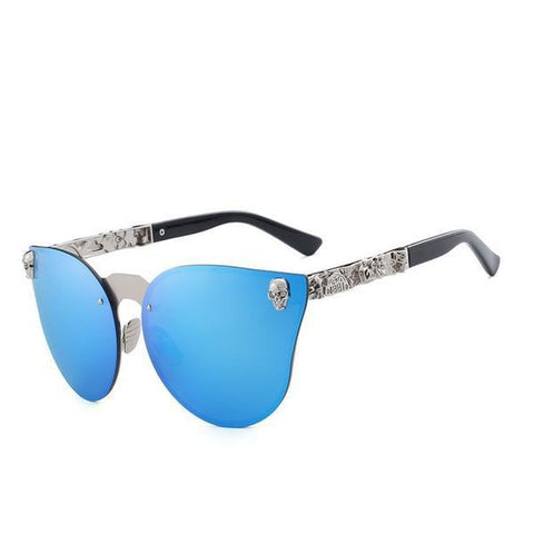 Skull Metal Temple Rimless Sunglasses