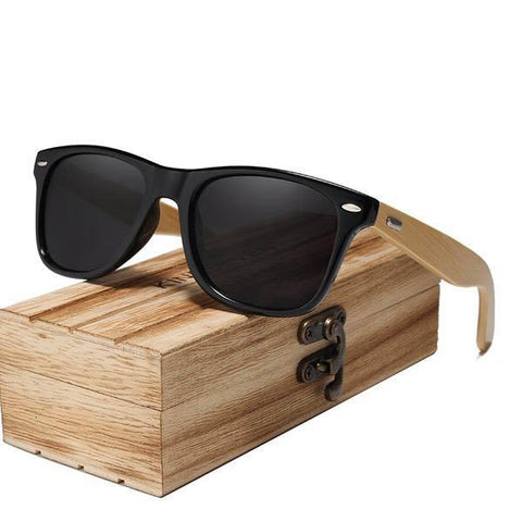 Polarized Vintage Travel Mirror Lenses Bamboo Sunglasses