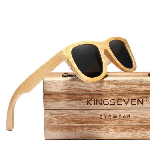 Retro Bamboo Polarized Mirror UV400 Full Frame Wood Shades Handmade Sunglasses