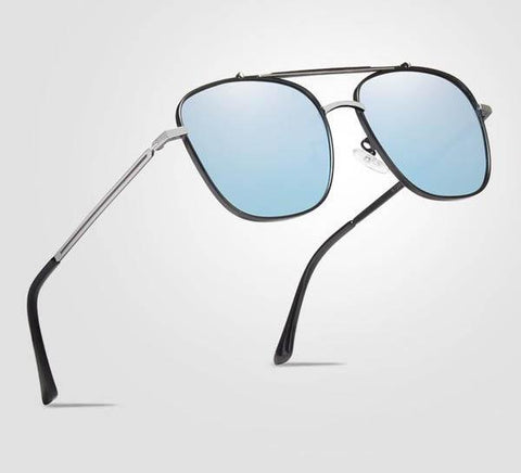 Unisex Square Frame Stainless Steel Fashion UV Protection Polarized Sunglasses