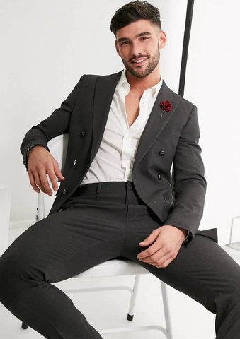 Charcoal Double Breasted Slim Fit Blazer Suit