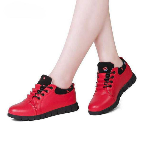 Casual Comfortable Lace Up Red Shoes