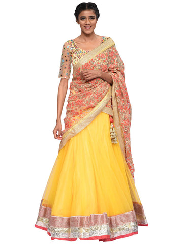 Yellow And Peach Lehenga By Archana Nallam