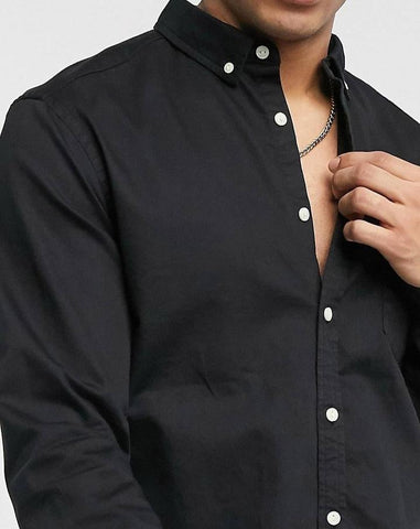 Black stretch slim fit shirt in black