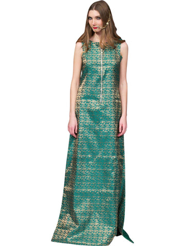 Green Brocade Kurta With Pant By Anvita Thakkar