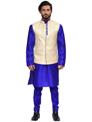 Blue And Golden Designer Indo-western Suit By Arun Dhall